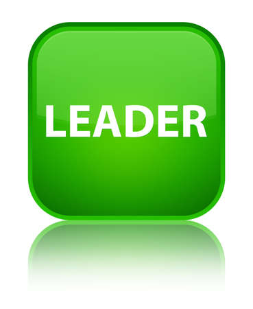 Leader isolated on special green square button reflected abstract illustration
