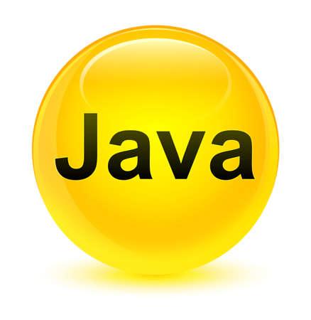 ガラス状の黄色い丸いボタンの抽象的なイラストに分離された Java