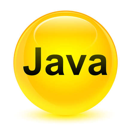 Java isolated on glassy yellow round button abstract illustration
