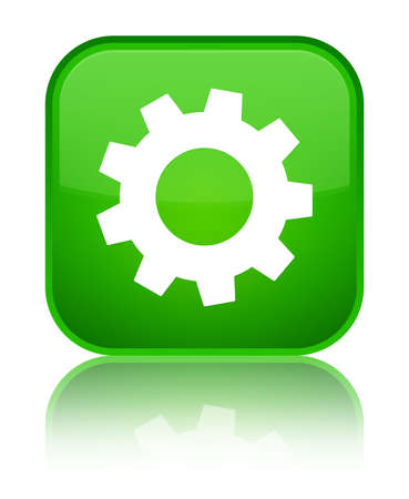 Process icon isolated on special green square button reflected abstract illustration Stock Photo