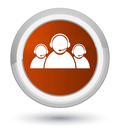 representative: Customer care team icon isolated on prime brown round button abstract illustration