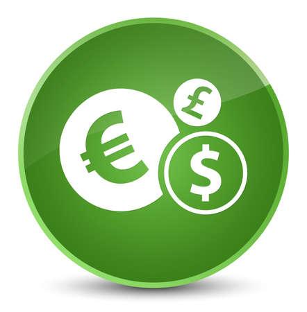エレガントな柔らかい緑色の丸いボタンの抽象的なイラストに隔離された財政アイコン