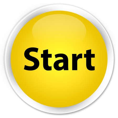 Start isolated on premium yellow round button abstract illustration