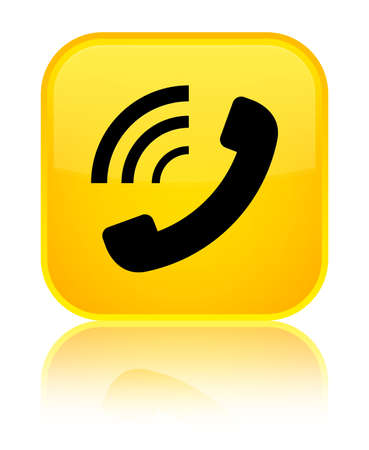 Phone ringing icon isolated on special yellow square button reflected abstract illustration