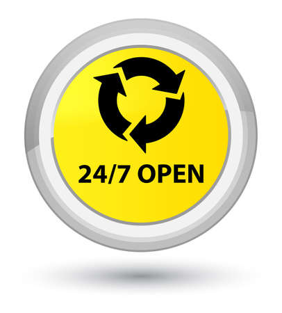 247 open isolated on prime yellow round button abstract illustration