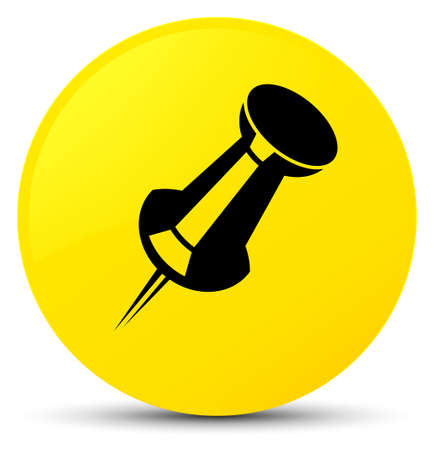 Push pin icon isolated on yellow round button abstract illustration