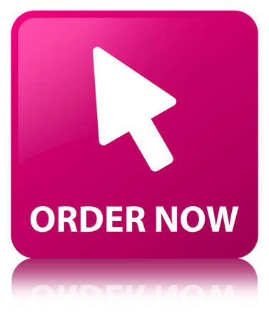 Order now (cursor icon) isolated on pink square button reflected abstract illustration Stock Photo