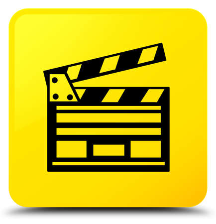 Cinema clip icon isolated on yellow square button abstract illustration