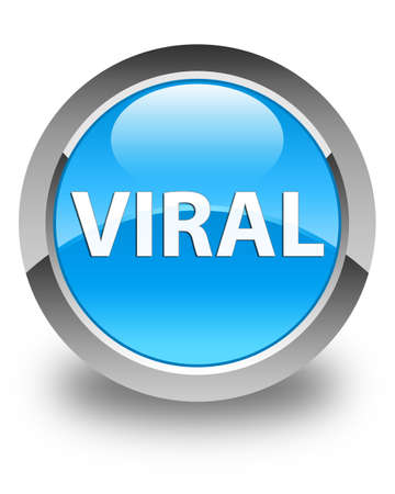 Viral isolated on glossy cyan blue round button abstract illustration