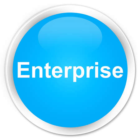 Enterprise isolated on premium cyan blue round button abstract illustration
