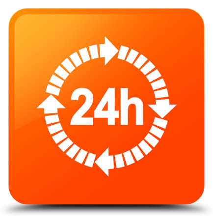 24 hours delivery icon isolated on orange square button abstract illustration