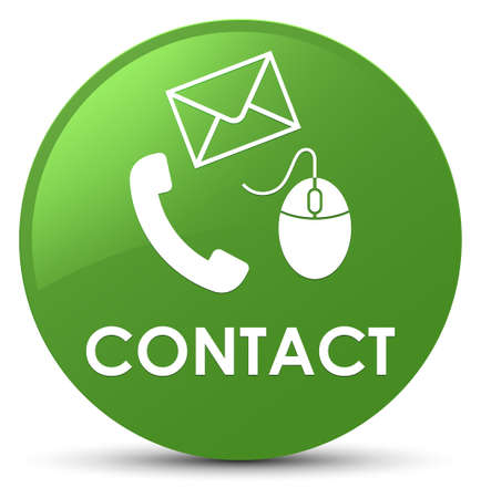 Contact (phone email and mouse icon) soft green isolated on round button abstract illustration