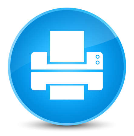 Printer icon isolated on elegant cyan blue round button abstract illustration Stock Photo