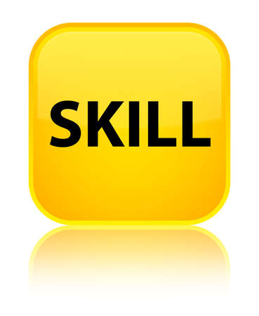 Skill isolated on special yellow square button reflected abstract illustration Stock Photo