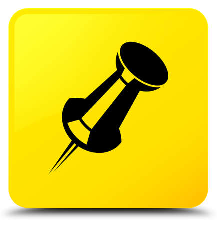 Push pin icon isolated on yellow square button abstract illustration Banque d'images