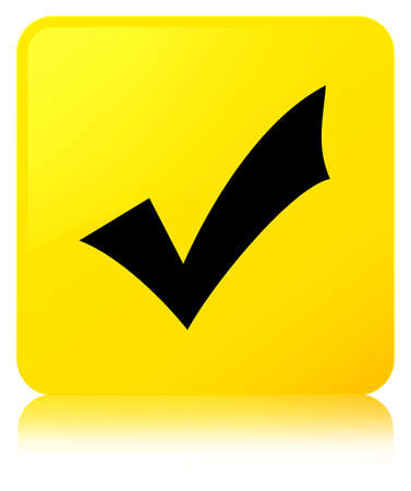 Validation icon isolated on yellow square button reflected abstract illustration