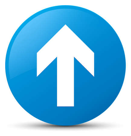 Upload arrow icon isolated on cyan blue round button abstract illustration