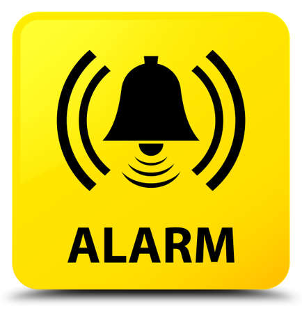 Alarm (bell icon) isolated on yellow square button abstract illustration