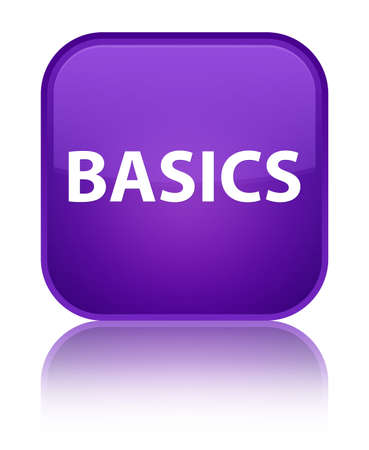 Basics isolated on special purple square button reflected abstract illustration Фото со стока