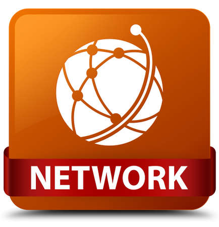 Network (global network icon) isolated on brown square button with red ribbon in middle abstract illustration Stock Photo