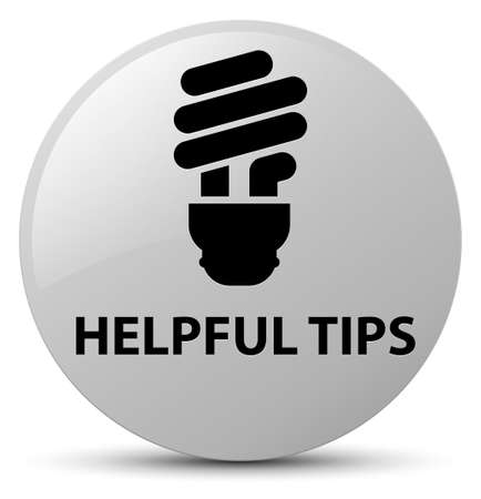 Helpful tips (bulb icon) isolated on white round button abstract illustration