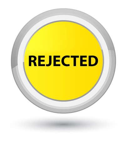 主黄色の丸いボタンの抽象的なイラストに孤立して拒絶 写真素材