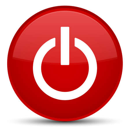 Power icon isolated on special red round button abstract illustration Stock Photo