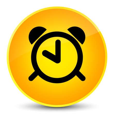 Alarm clock icon isolated on elegant yellow round button abstract illustration