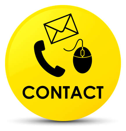 Contact (phone email and mouse icon) yellow isolated on round button abstract illustration Stock Photo