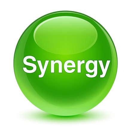Synergie op glazige groene ronde knoop abstracte illustratie die wordt geïsoleerd Stockfoto
