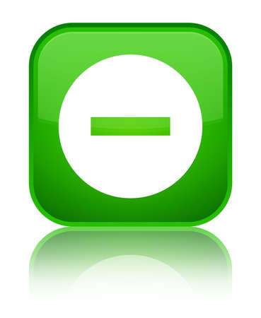 Cancel icon isolated on special green square button reflected abstract illustration