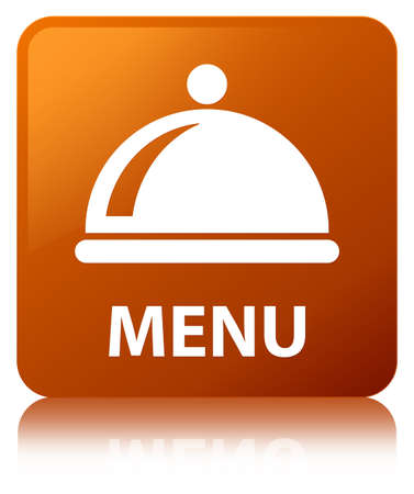 Menu (food dish icon) isolated on brown square button reflected abstract illustration Stock Photo