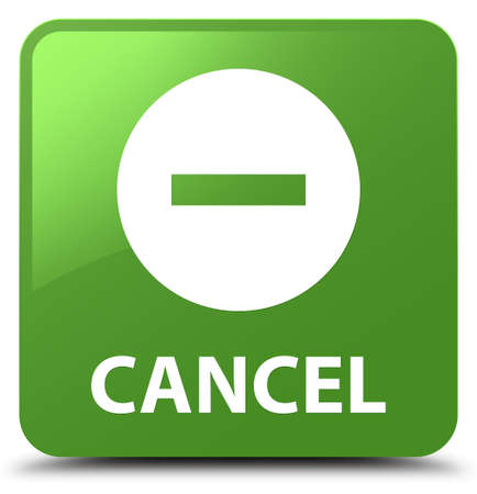 Cancel isolated on soft green square button abstract illustration Stock Photo