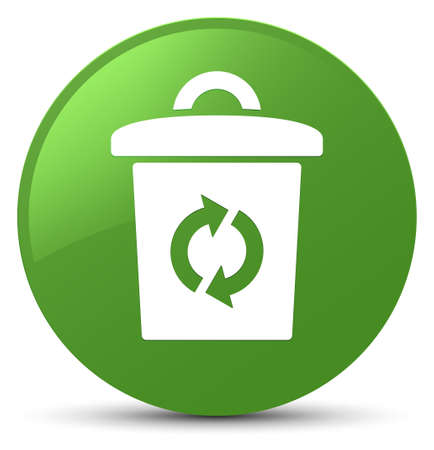 Trash icon isolated on soft green round button abstract illustration Stock Photo