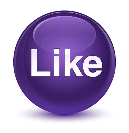 Like isolated on glassy purple round button abstract illustration Stock Photo