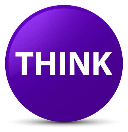 Think isolated on purple round button abstract illustration Stock Photo
