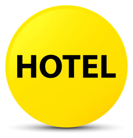 Hotel isolated on yellow round button abstract illustration