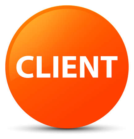 Client isolated on orange round button abstract illustration