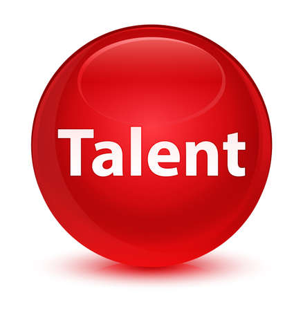 Talent isolated on glassy red round button abstract illustration
