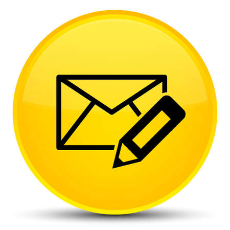 email icon: Edit email icon isolated on special yellow round button abstract illustration