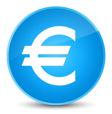 Euro sign icon isolated on elegant cyan blue round button abstract illustration