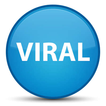 Viral isolated on special cyan blue round button abstract illustration