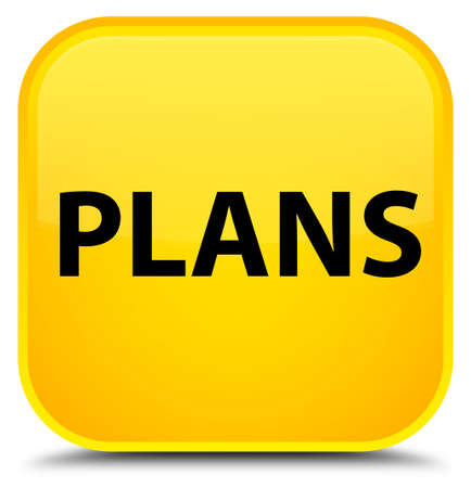 Plans isolated on special yellow square button abstract illustration