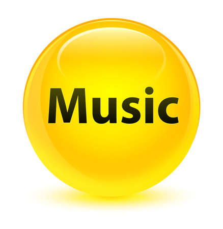 Music isolated on glassy yellow round button abstract illustration