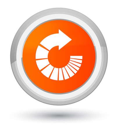 Rotate arrow icon isolated on prime orange round button abstract illustration Stock Photo