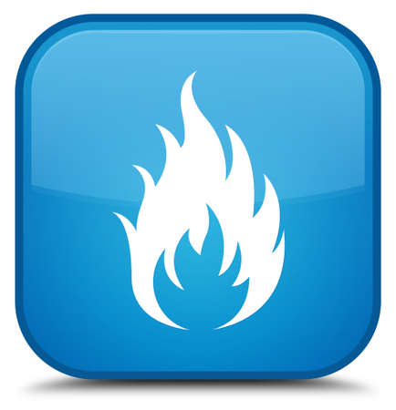 Fire icon isolated on special cyan blue square button abstract illustration