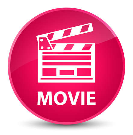 Movie (cinema clip icon) isolated on elegant pink round button abstract illustration