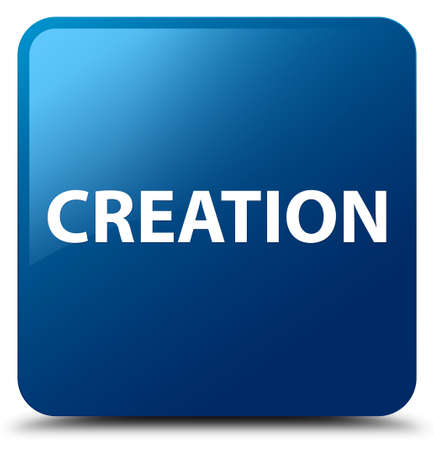 Creation isolated on blue square button abstract illustration