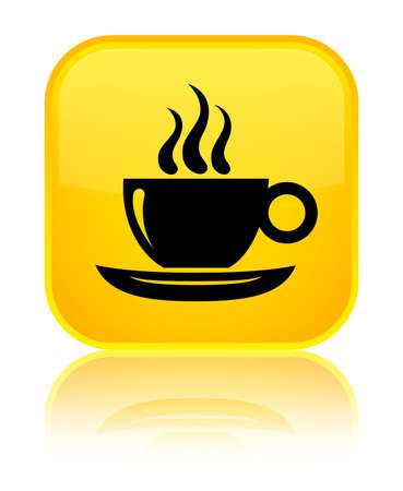 Coffee cup icon isolated on special yellow square button reflected abstract illustration