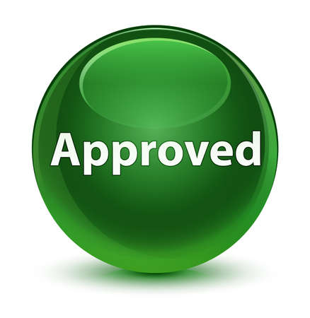 Approved isolated on glassy soft green round button abstract illustration Stock Photo